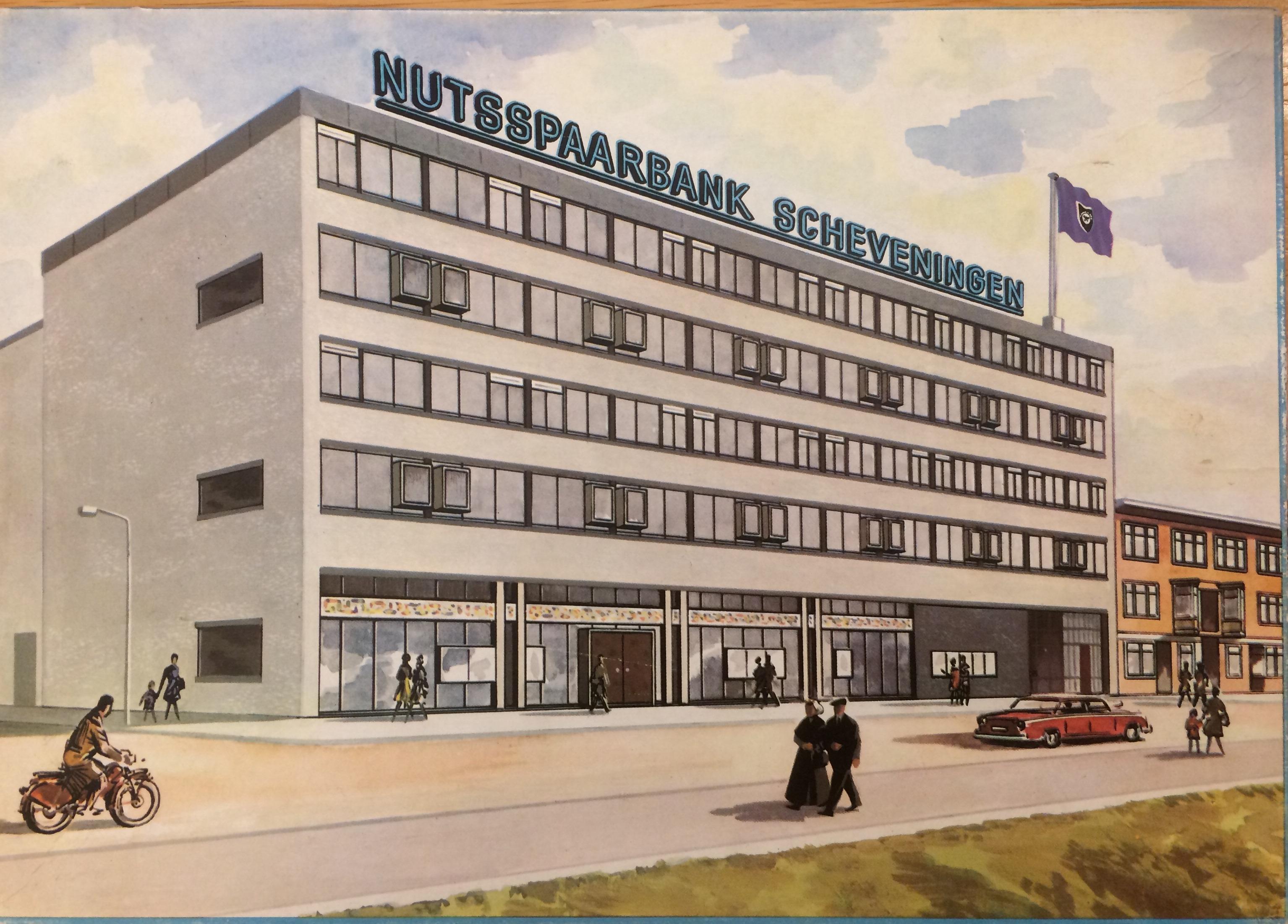 Het nieuwe kantoor Scheveningen afgebeeld op een puzzel uitgegeven ter gelegenheid van de opening
